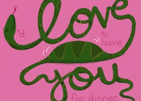 Animal Cursive series - I Love You snake