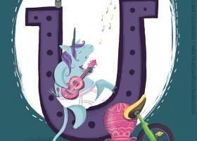 U is for Unicorn children's book illustration