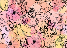 Tropical Butterflies pattern for Simsotex