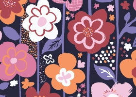 Big Funky Floral repeat pattern for Kohls by Steph Calvert Art