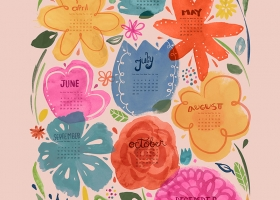 Floral 2017 Tea Towel Calendar
