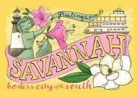 Greetings from Savannah postcard