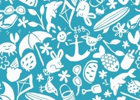 Summer Icons Toss repeat pattern design for Kohl's by Steph Calvert Art