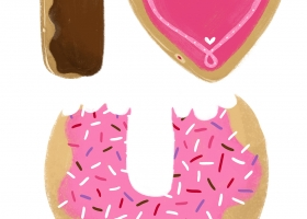 I Heart You cute donuts illustration