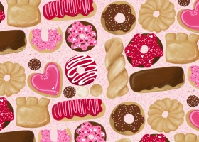 Cute Valentines Day donuts illustration repeat pattern