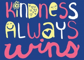 Kindness Always Wins hand lettering for Kohl's