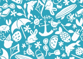 Summer Icons Toss repeat pattern design for Kohl's