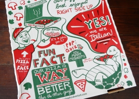Custom Pizza Box Illustration for Mario's Original Pizza & Pasta