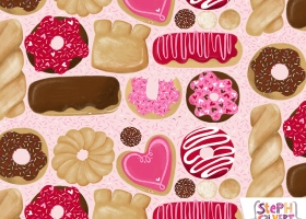Cute Valentines Day donuts repeat pattern