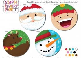 Round Christmas Friends - Steph Calvert Art