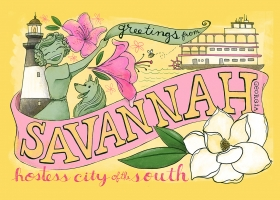 Greetings from Savannah postcard