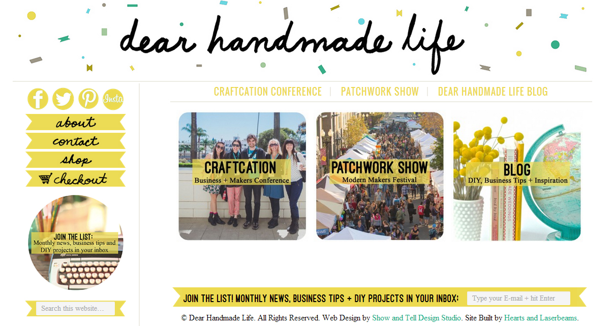 Web Design - Dear Handmade Life by Hearts and Laserbeams