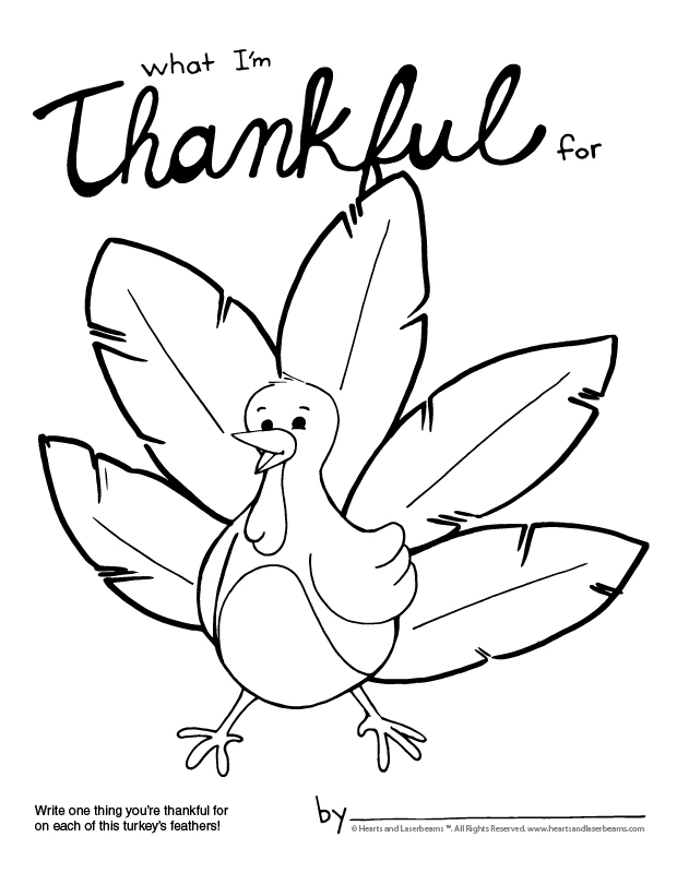 Thanksgiving Coloring Page - What I'm Thankful For - Hearts and Laserbeams