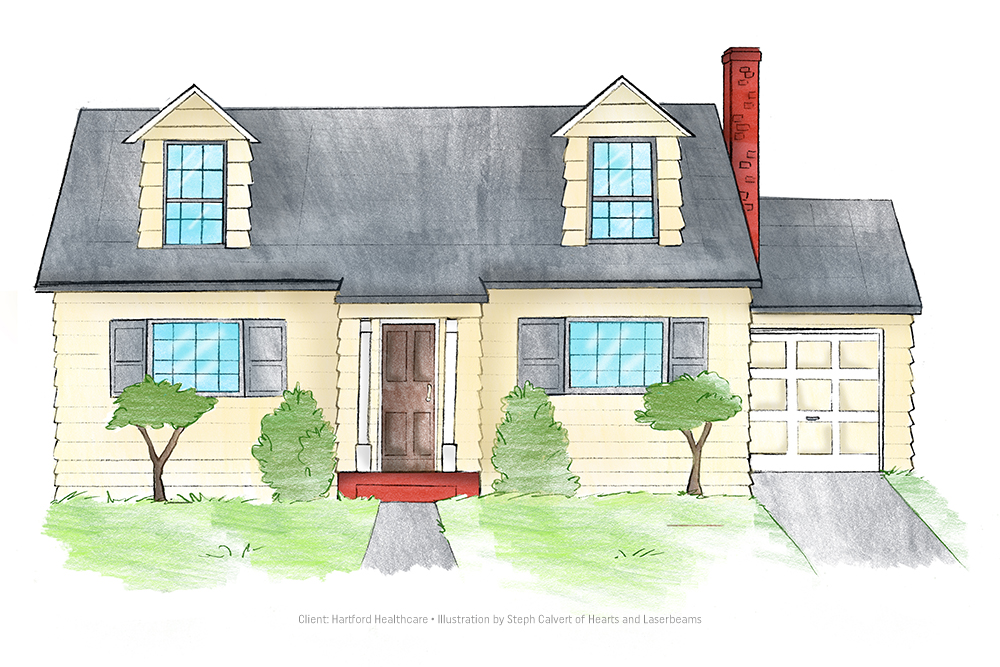 Building illustrations for hartford healthcare for Drawing for house construction in india