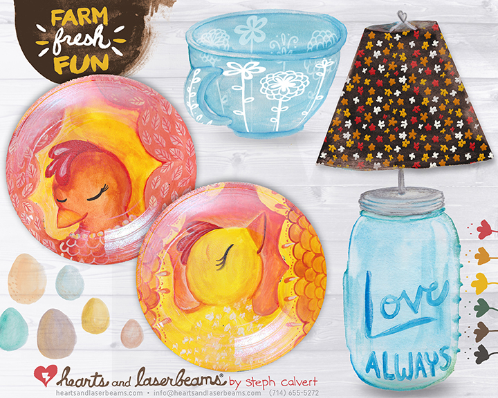 Farm Fresh Fun glass product concepts by Steph Calvert of Hearts and Laserbeams