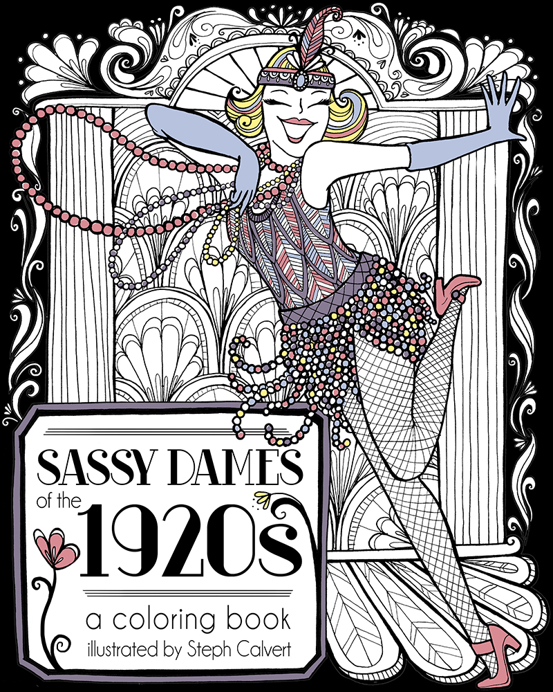 coloring pages vintage 1920s flapper illustration