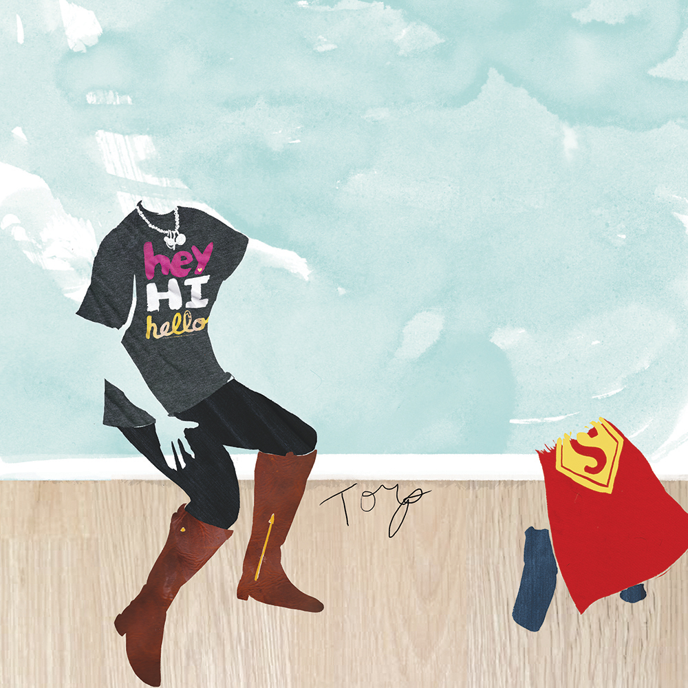Outfit Of The Day editorial illustration by Steph Calvert of Hearts and Laserbeams