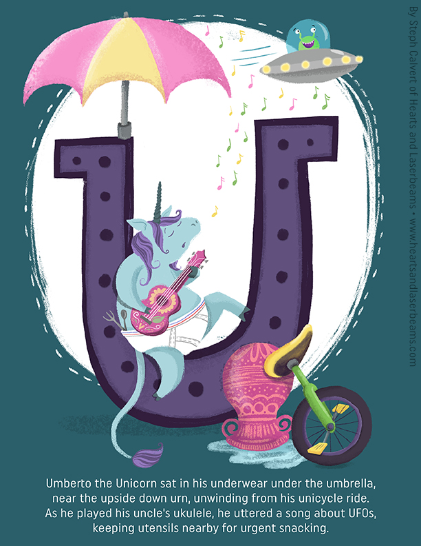 Childrens Books Illustrations - U is for Unicorn by Steph Calvert of Hearts and Laserbeams