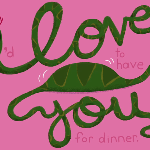 Animal Cursive Greeting Card Series - I Love You snake by Steph Calvert