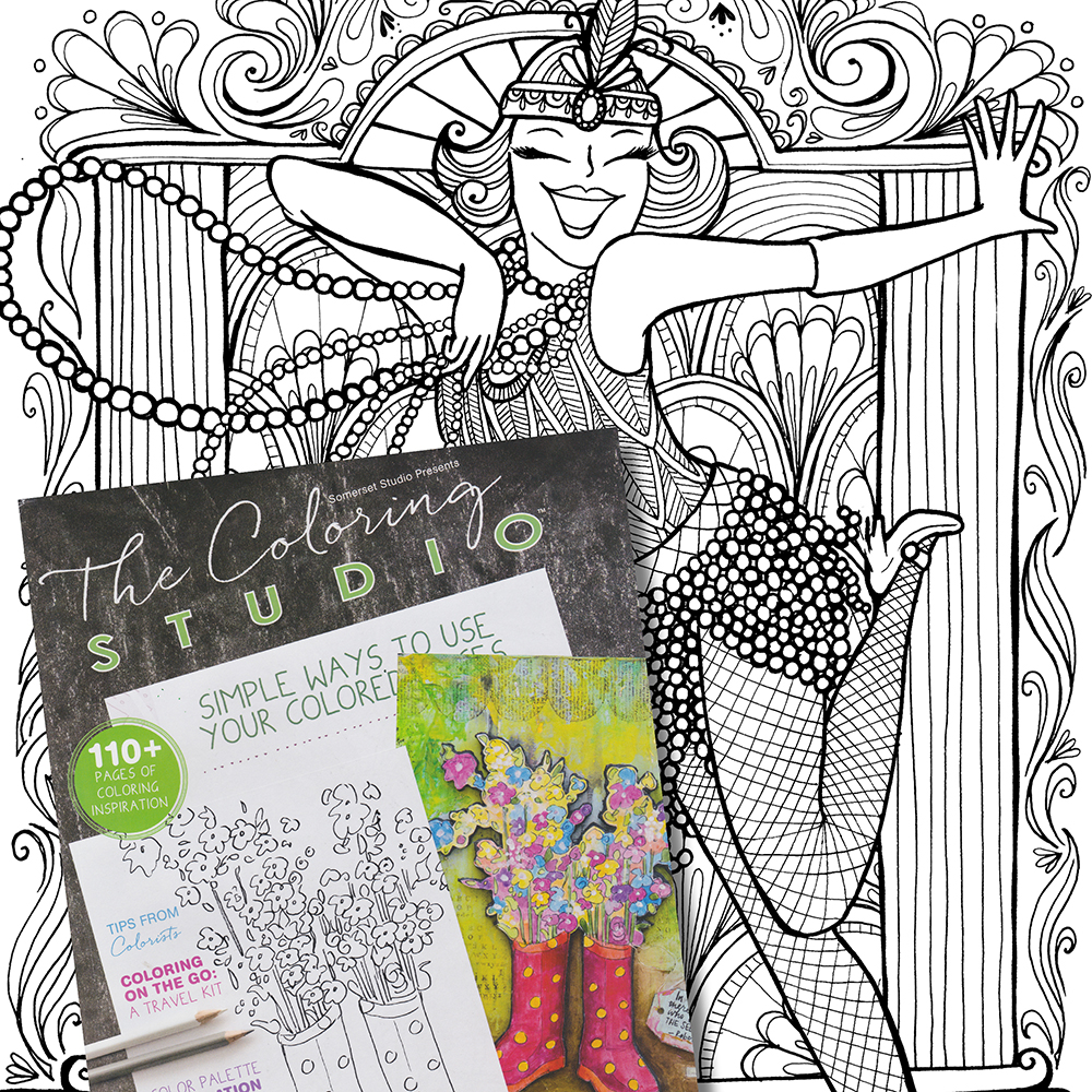 Sassy Flapper by Steph Calvert in Autumn 2016 Issue of The Coloring Studio magazine