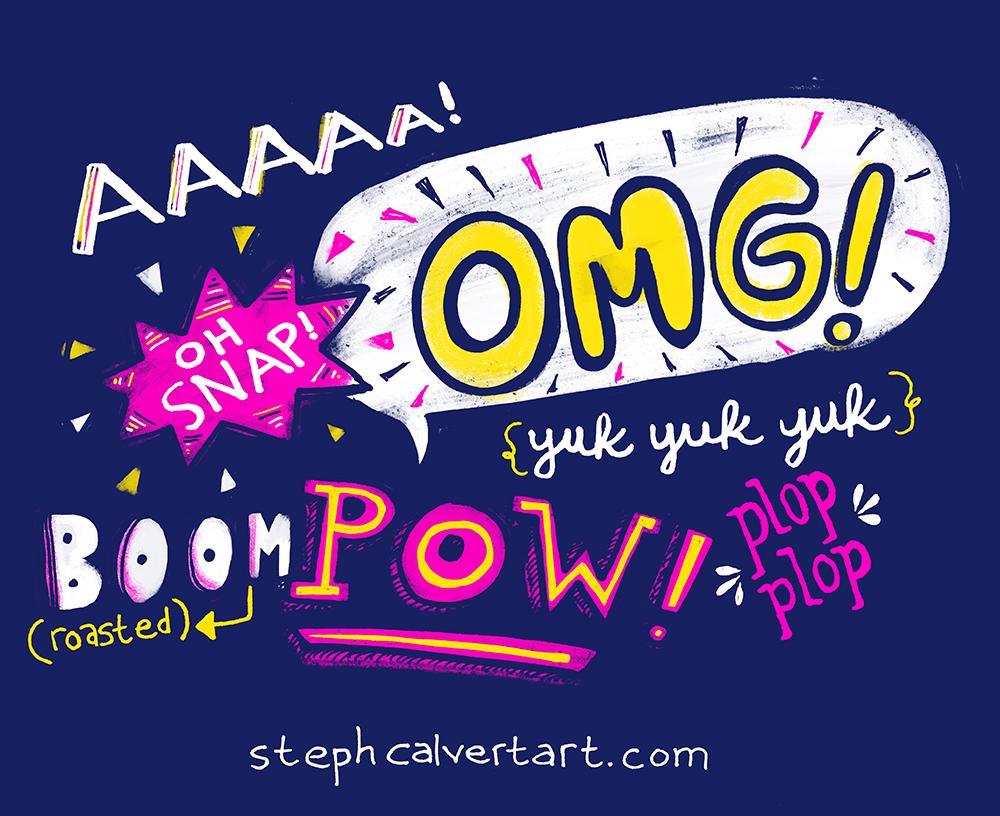 Super Hero Words - Hand Lettering by Steph Calvert Art