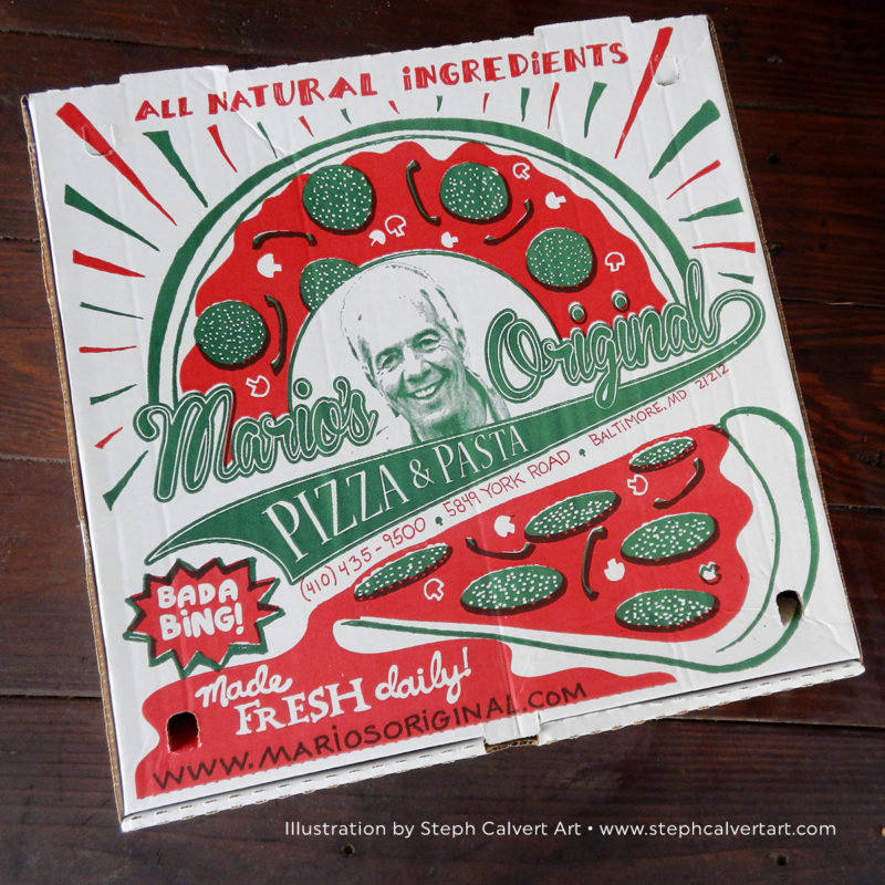 Custom Pizza Box Illustration for Mario's Pizza