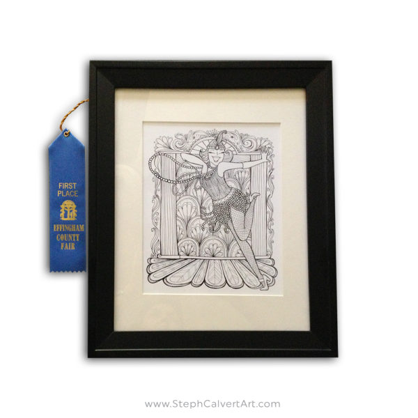 Sassy Flapper framed print by Steph Calvert Art