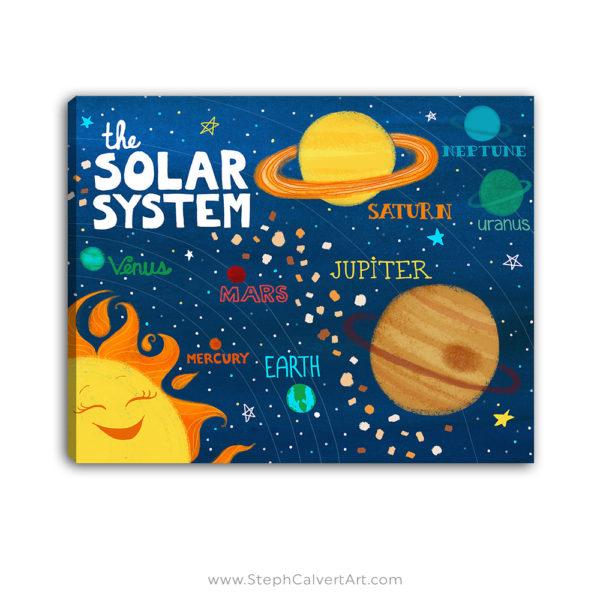 The Solar System kids wall art by Steph Calvert Art