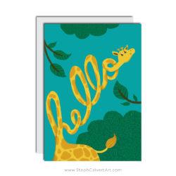 Hello Giraffe greeting card by Steph Calvert Art