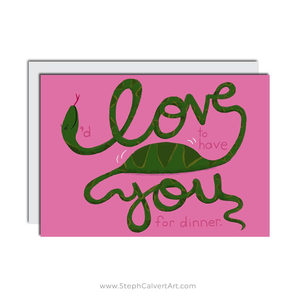 I Love You Snake Greeting Card Steph Calvert Art