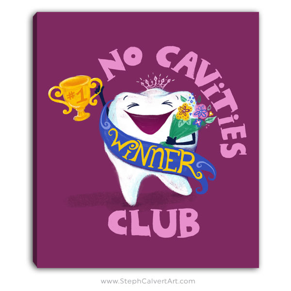 No Cavities Club dentist canvas wall art by Steph Calvert Art