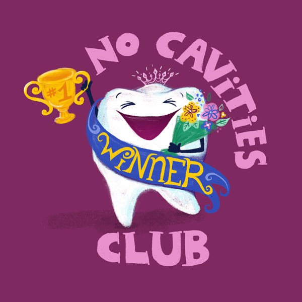 No Cavities Club dentist art print by Steph Calvert Art