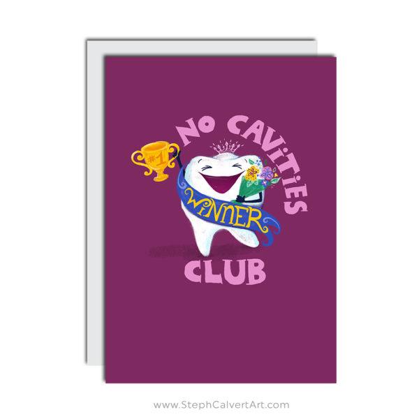No Cavities Club dentist greeting card by Steph Calvert Art