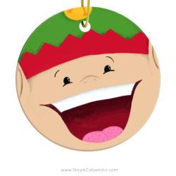 Happy Elf Christmas Ornament by Steph Calvert Art