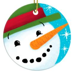 Happy Snowman Christmas Ornament by Steph Calvert Art
