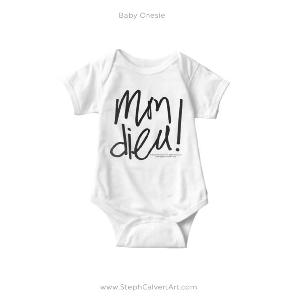 Mon Dieu French Typography Baby Onesie by Steph Calvert Art