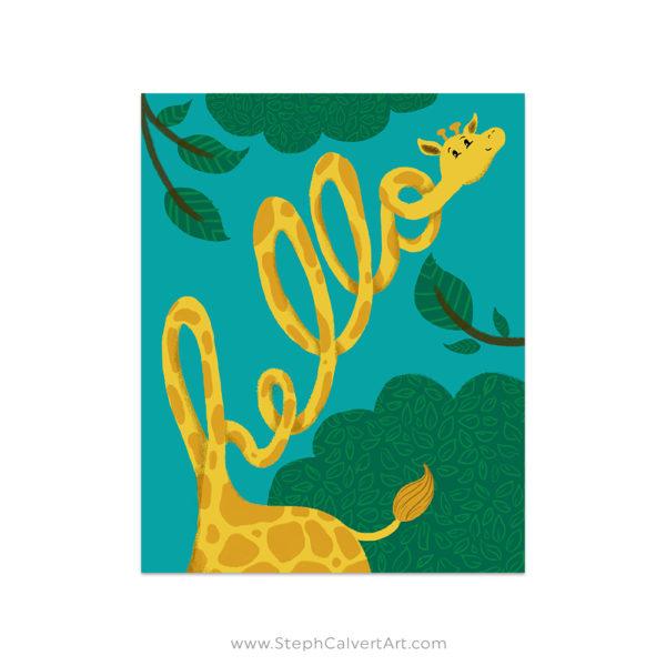Hello Giraffe art print by Steph Calvert Art
