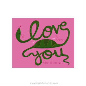 I Love You snake art print by Steph Calvert Art