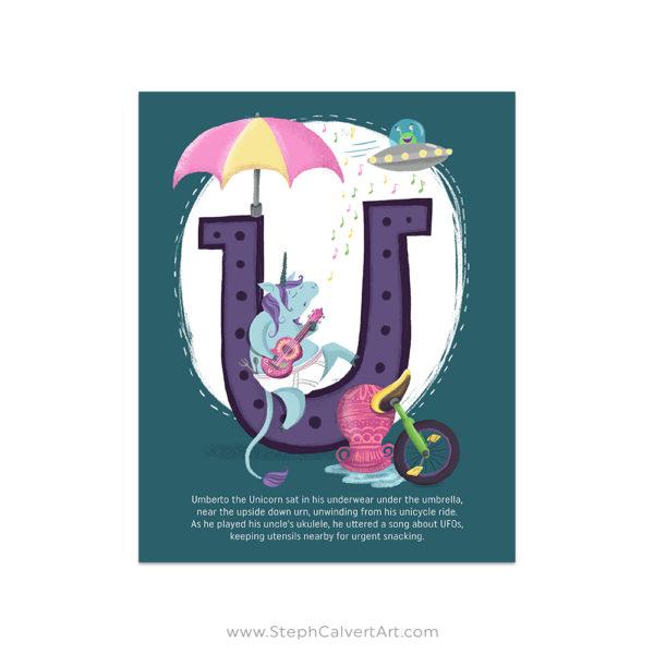 U is for Unicorn art print by Steph Calvert Art