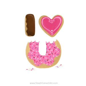 I Heart You cute donuts illustration by Steph Calvert Art