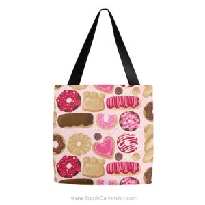Mmm donuts repeat pattern tote bag - illustration by Steph Calvert Art