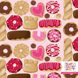Cute allover donuts tote bag - illustration by Steph Calvert Art