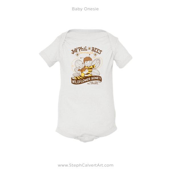 White JoyPhil Bees Baby Onesie by Steph Calvert Art