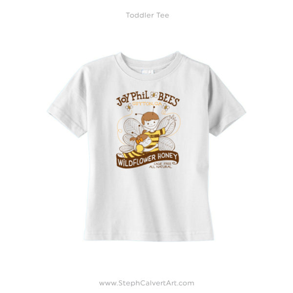 White JoyPhil Bees Toddler Shirt by Steph Calvert Art