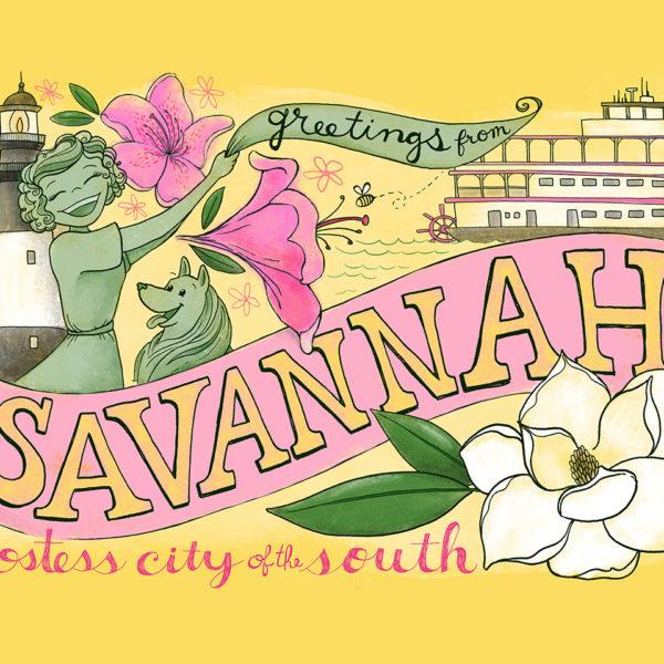 Savannah Georgia Art Print - Illustration by Steph Calvert Art